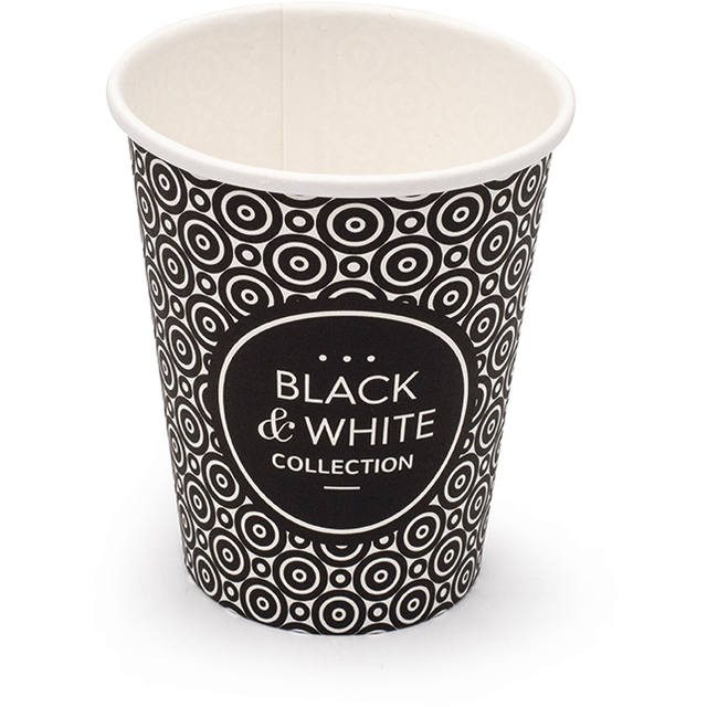 Coffee cup, Karton/PE, 250ml, 8oz, black/White 1
