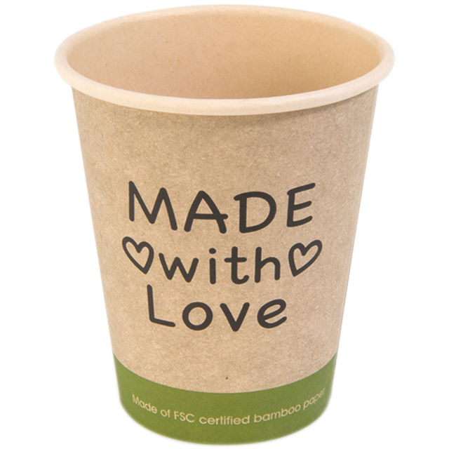Coffee cup, Made with Love, Bamboe/PE, 250ml, 8oz, 92mm, beige/Groen  1