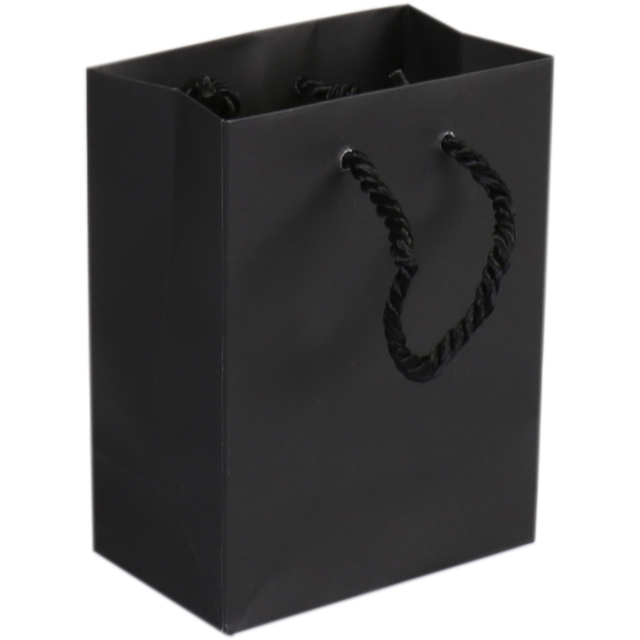Bag, Art paper, Deluxe bag with cord, 11x 6.5x14.5cm, carrier bag, black 1