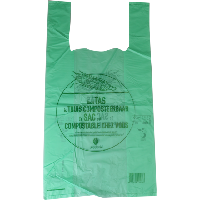 Biodore® Bag, Compostable, starch blend, 27xSide fold 7x50cm, t-shirt bag, transparent/Green 1