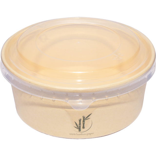 DEPA® Container, Bamboo paper/PE, 750ml, salad container, 60mm, natural 1