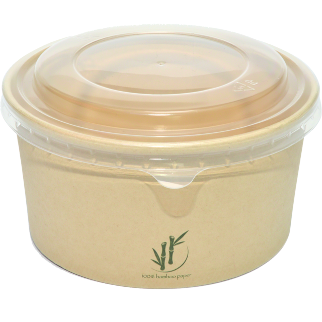 DEPA® Container, Bamboo paper/PE, 1000ml, salad container, 60mm, natural 1