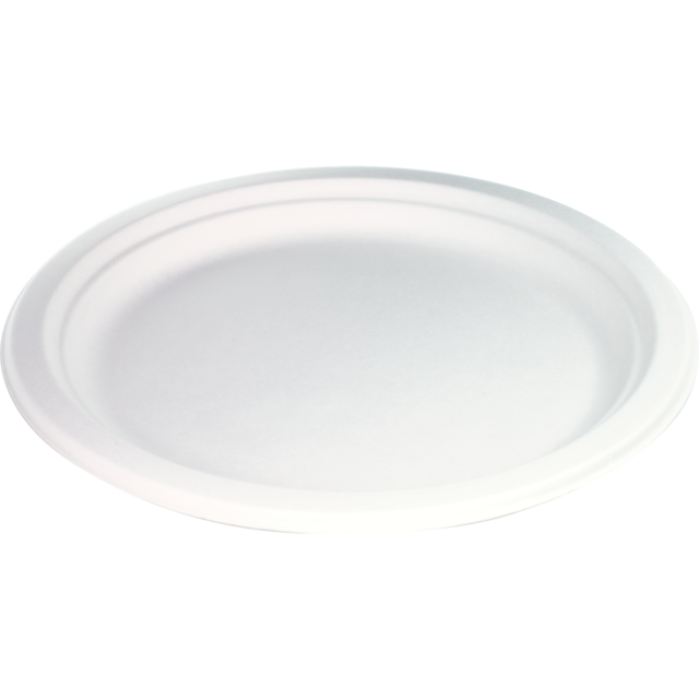 Biodore® Plate, round, 1 compartment, bagasse, Ø150mm, white 1