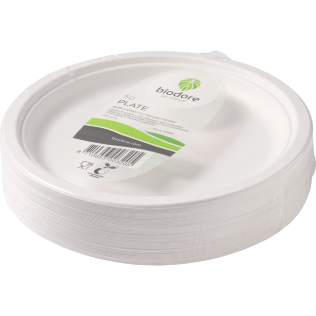 Biodore® Plate, round, 1 compartment, bagasse, Ø260mm, white 1