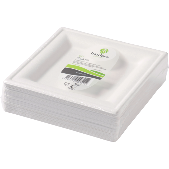 Biodore® Plate, square, 1 compartment, Bagasse, 160x160mm, white 1