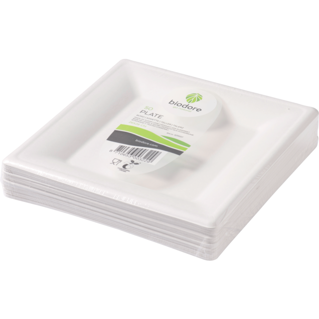 Biodore® Plate, square, 1 compartment, Bagasse, 260x260mm, white 1