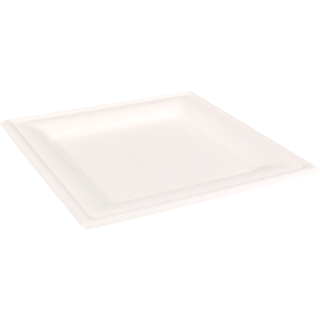 Biodore® Plate, square,  1 compartment, Bagasse, 20x20cm, white 1