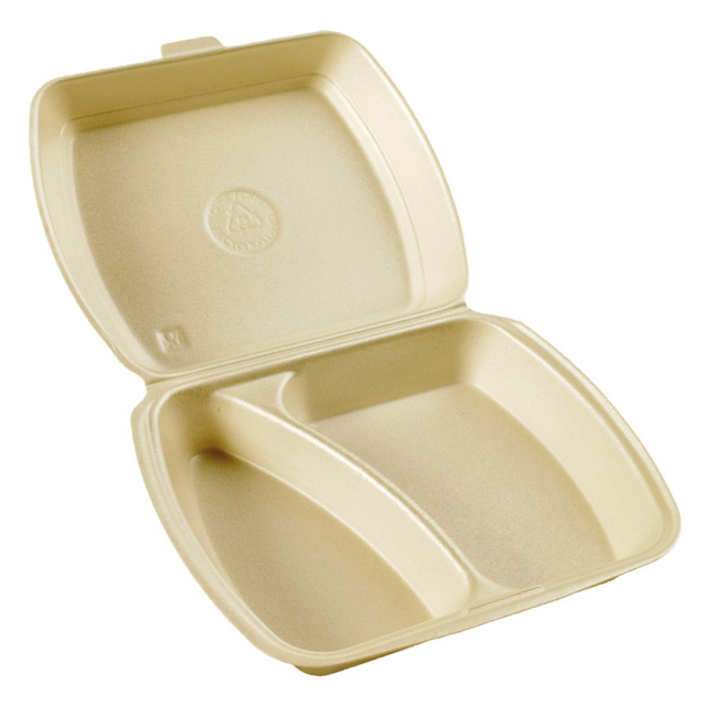 Meal tray, pS, 2 compartment, 9x9x3inch, peach 1