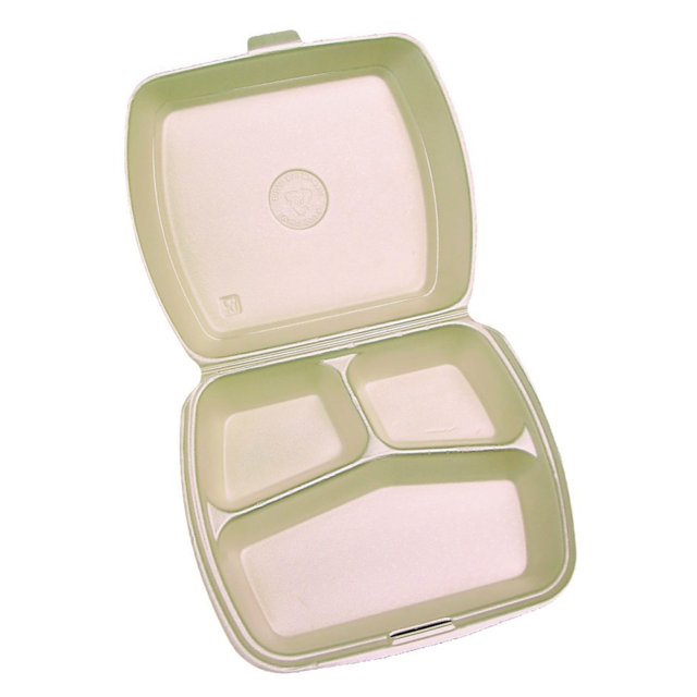Meal tray, PS, 3 compartments , 9x9x3inch, peach 1