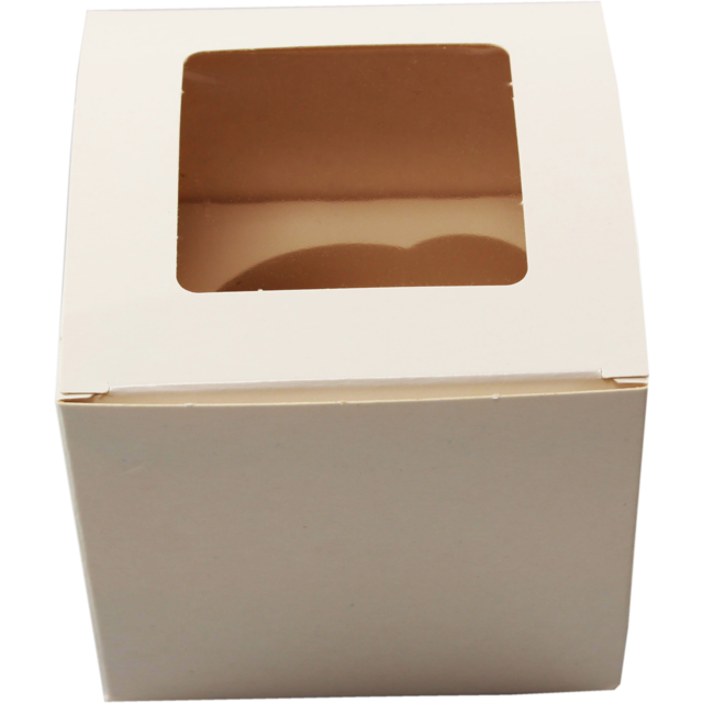 Cake box, Cardboard, 90x90x80mm, with window, white 1