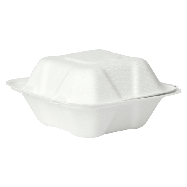 Container, Bagasse, 2 compartment, 6x6x white 1