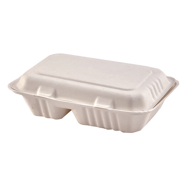 Container, Bagasse, 2 compartment, 9x6x white 1