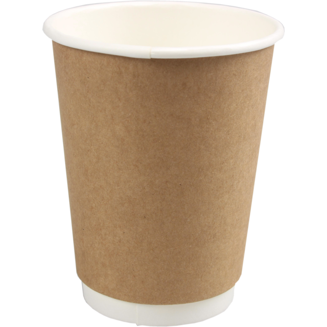 Double-walled cup, Paper, 12oz, 110mm, brown  1