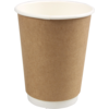 Double-walled cup, Paper, 8oz, 92mm, brown